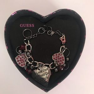 Guess Heart Charm Bracelet silver New